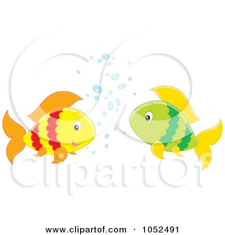Royalty-Free Vector Clipart Illustration of Two Fish Chatting by Alex Bannykh