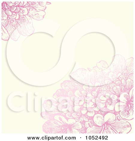Royalty-Free Vector Clip Art Illustration of a Pink Lilac Flower And Beige Floral Invitation Background - 1 by BestVector