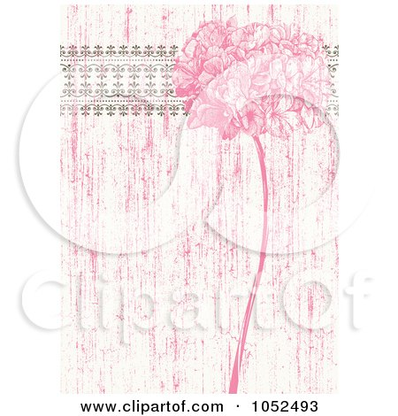 Pink Distressed Lilac Flower And Ornate Trim Floral Invitation Background - 1 Posters, Art Prints