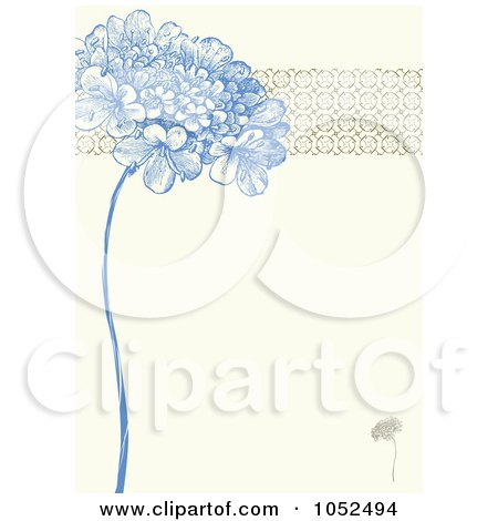 Royalty-Free Vector Clip Art Illustration of a Blue Lilac Flower And Ornate Trim Floral Invitation Background by BestVector