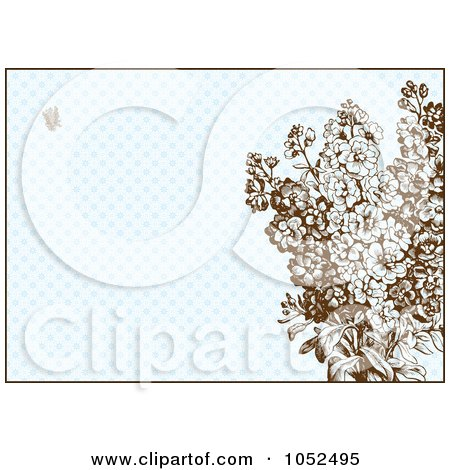 Royalty-Free Vector Clip Art Illustration of Lilac Flowers On A Blue Pattern Invitation Background by BestVector