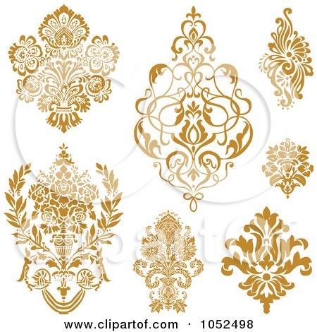 Royalty-Free Vector Clip Art Illustration of a Digital Collage Of Gold Damask Design Elements by BestVector