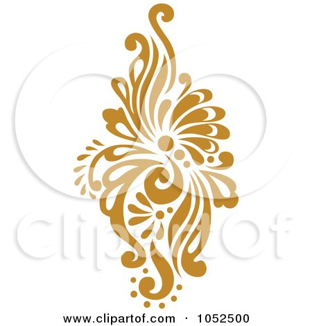 Royalty-Free Vector Clip Art Illustration of a Gold Damask Design Element - 2 by BestVector
