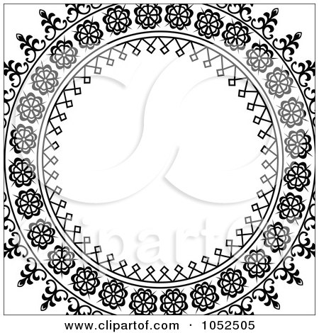 Royalty-Free Vector Clip Art Illustration of an Ornate Black Circle Frame Over White by BestVector