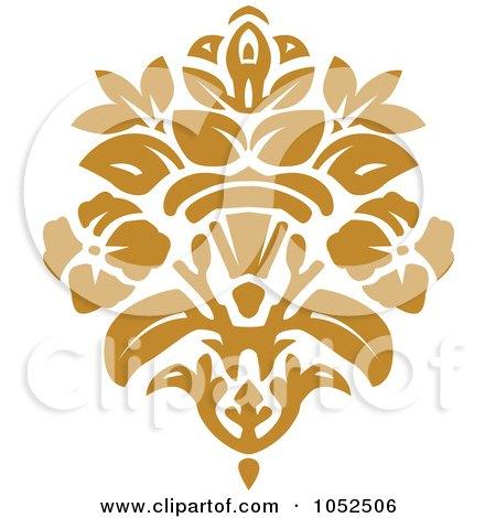 Royalty-Free Vector Clip Art Illustration of a Gold Damask Design Element - 4 by BestVector