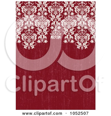 Royalty-Free Vector Clip Art Illustration of an Ornate Damask Border On Distressed Red by BestVector
