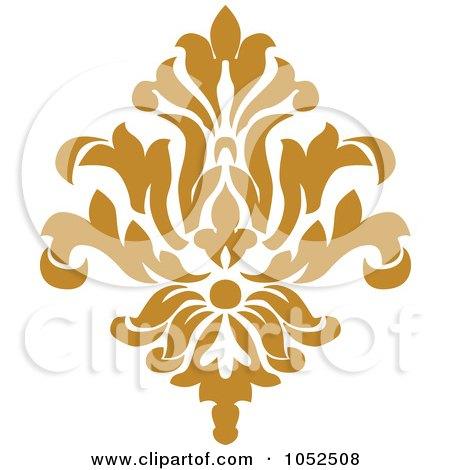 Royalty-Free Vector Clip Art Illustration of a Gold Damask Design Element - 7 by BestVector
