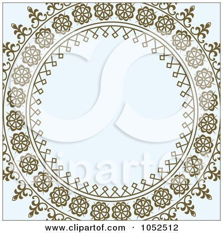 Royalty-Free Vector Clip Art Illustration of an Ornate Brown Cicrcle Frame Over Gray by BestVector