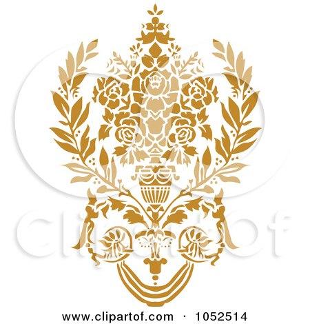 Royalty-Free Vector Clip Art Illustration of a Gold Damask Design Element - 5 by BestVector