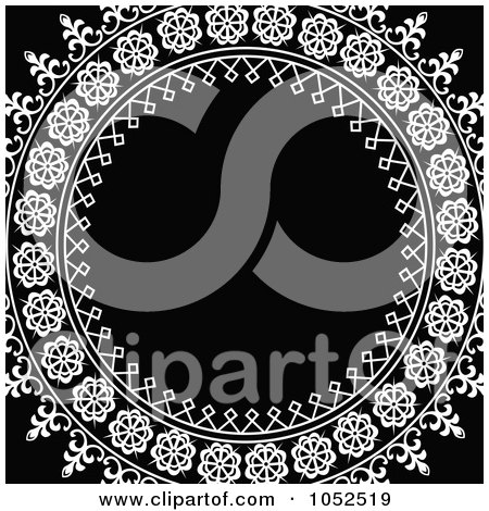 Royalty-Free Vector Clip Art Illustration of an Ornate White Circle Frame Over Black by BestVector