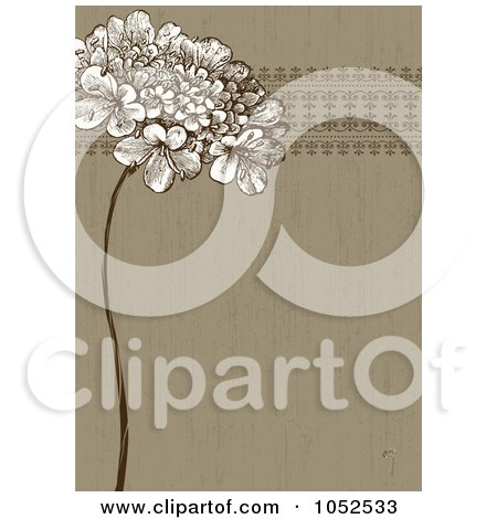 Brown Lilac Flower And Ornate Trim Floral Invitation Background - 1 Posters, Art Prints