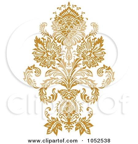Royalty-Free Vector Clip Art Illustration of a Gold Damask Design Element - 6 by BestVector