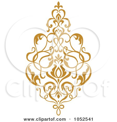 Royalty-Free Vector Clip Art Illustration of a Gold Damask Design Element - 3 by BestVector