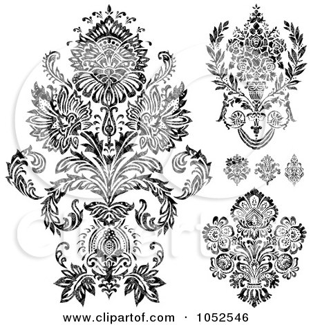 Royalty-Free Vector Clip Art Illustration of a Digital Collage Of Gray And Black Patterned Damask Design Elements by BestVector