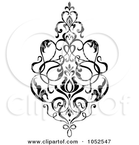 Royalty-Free Vector Clip Art Illustration of a Gray And Black Patterned Damask Design Element - 5 by BestVector