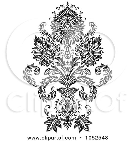 Royalty-Free Vector Clip Art Illustration of a Gray And Black Patterned Damask Design Element - 1 by BestVector