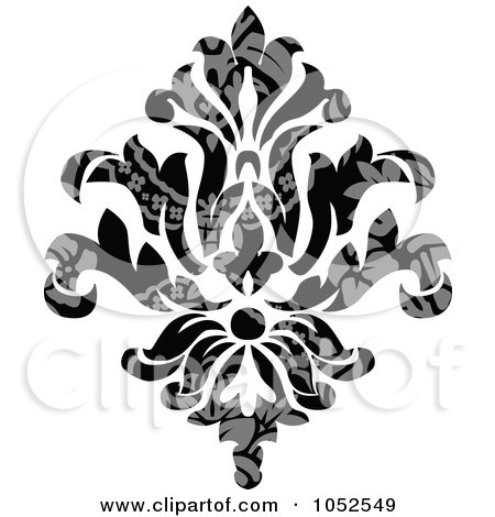 Royalty-Free Vector Clip Art Illustration of a Gray And Black Patterned Damask Design Element - 4 by BestVector