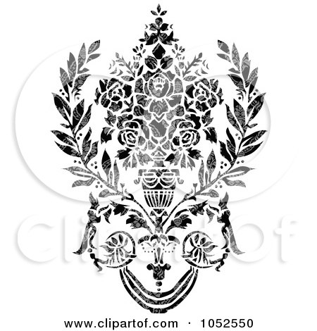 Royalty-Free Vector Clip Art Illustration of a Gray And Black Patterned Damask Design Element - 2 by BestVector