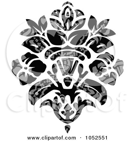 Royalty-Free Vector Clip Art Illustration of a Gray And Black Patterned Damask Design Element - 3 by BestVector