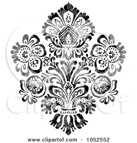 Royalty-Free Vector Clip Art Illustration of a Gray And Black Patterned Damask Design Element - 6 by BestVector