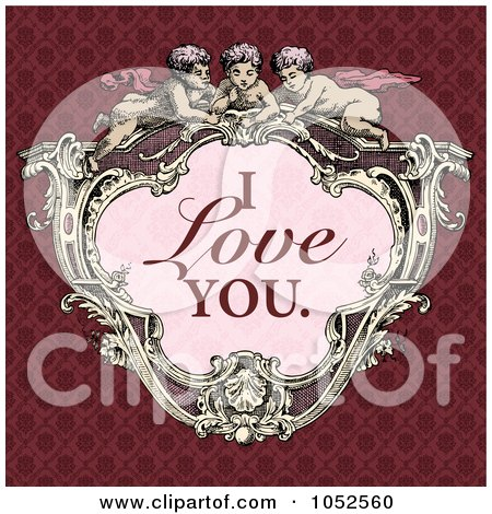 Royalty-Free Vector Clip Art Illustration of a Victorian Cupid Frame With Pink I Love You Text On A Red Background by BestVector