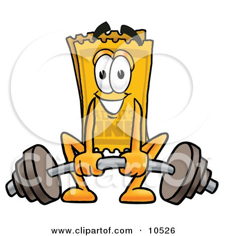 Clipart Picture of a Yellow Admission Ticket Mascot Cartoon Character Lifting a Heavy Barbell by Toons4Biz