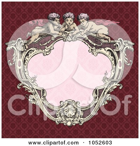 Royalty-Free Vector Clip Art Illustration of a Victorian Cupid Frame With Pink Copyspace On A Red Background by BestVector