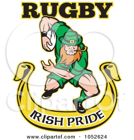 Royalty-Free Vector Clip Art Illustration of a Rugby Leprechaun Over A Yellow Banner by patrimonio