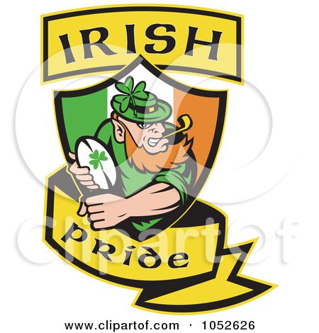 Royalty-Free Vector Clip Art Illustration of a Rugby Leprechaun With A Shield And Yellow Banner by patrimonio