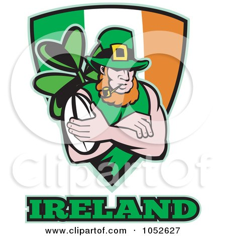 Royalty-Free Vector Clip Art Illustration of a Rugby Leprechaun Over An Irish Shield by patrimonio