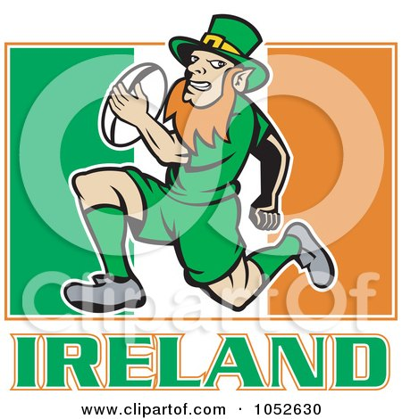 Royalty-Free Vector Clip Art Illustration of a Rugby Leprechaun Over An Irish Flag by patrimonio