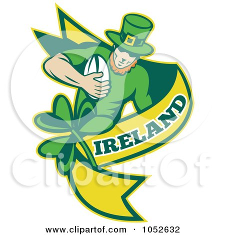 Royalty-Free Vector Clip Art Illustration of a Rugby Leprechaun With A Yellow Banner by patrimonio