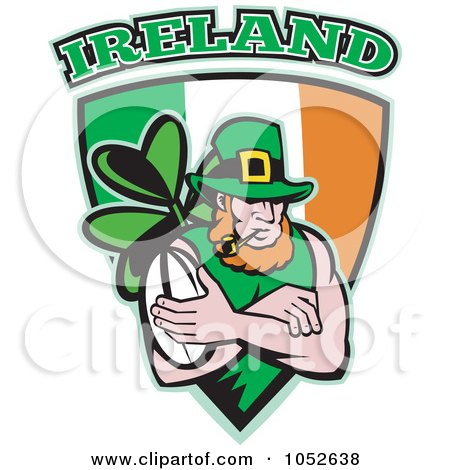 Royalty-Free Vector Clip Art Illustration of a Rugby Leprechaun On An Irish Shield by patrimonio