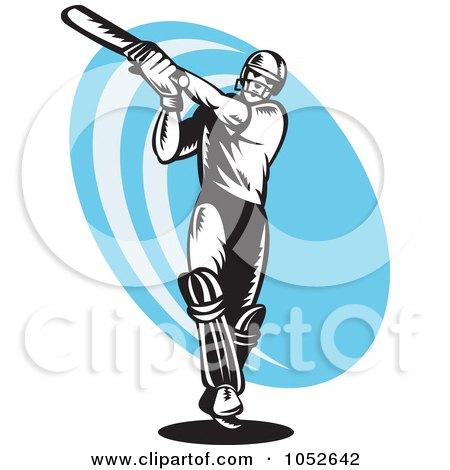 Royalty-Free Vector Clip Art Illustration of a Cricket Batsman Logo - 6 by patrimonio