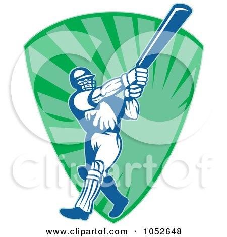 Royalty-Free Vector Clip Art Illustration of a Cricket Batsman Logo - 12 by patrimonio