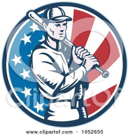 Royalty-Free Vector Clip Art Illustration of a Baseball Player Batting Over An American Flag Circle by patrimonio