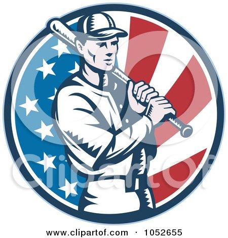 Royalty Free Vector Clip Art Illustration Of A Baseball Player Batting Over An American Flag Circle