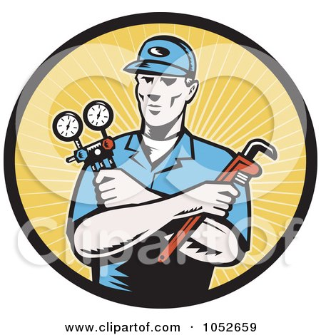 Royalty-Free Vector Clip Art Illustration of a Retro Plumber Over Yellow Rays Logo by patrimonio
