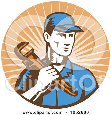 Royalty-Free Vector Clip Art Illustration of a Retro Plumber Over Orange Rays Logo by patrimonio