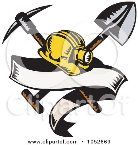Royalty-Free Vector Clip Art Illustration of a Miner Helmet With A Shovel And Pickax And Blank Banner by patrimonio