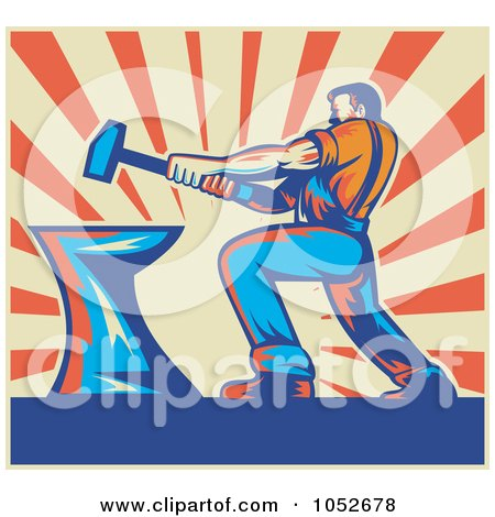 Royalty-Free Vector Clip Art Illustration of a Retro Blacksmith Hammering Over Beige And Orange Rays by patrimonio