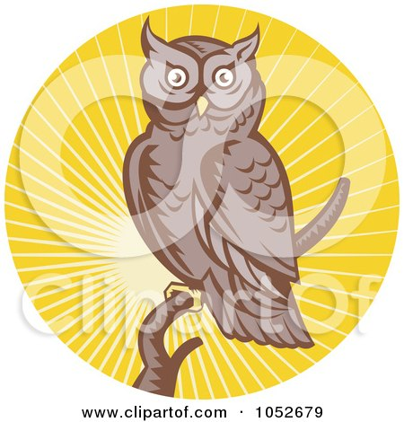 Royalty-Free Vector Clip Art Illustration of a Retro Owl Over Yellow Rays Logo by patrimonio