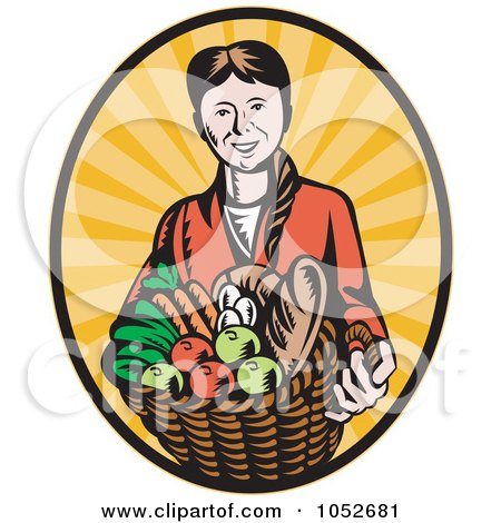 Royalty-Free Vector Clip Art Illustration of a Retro Woman Holding A Harvest Basket Over Rays by patrimonio