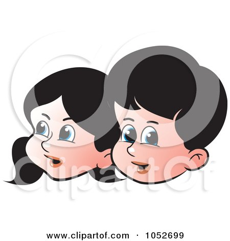 Royalty-Free Vector Clip Art Illustration of Boy And Girl Faces by Lal Perera