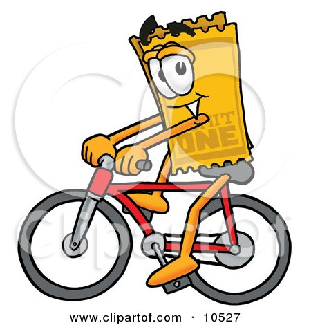Clipart Picture of a Yellow Admission Ticket Mascot Cartoon Character Riding a Bicycle by Toons4Biz