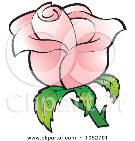 Royalty-Free Vector Clip Art Illustration of a Pretty Pink Rose by Lal Perera