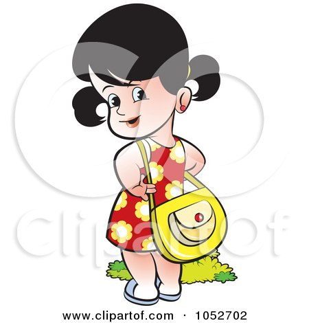 Royalty-Free Vector Clip Art Illustration of a Girl With A Purse by Lal Perera
