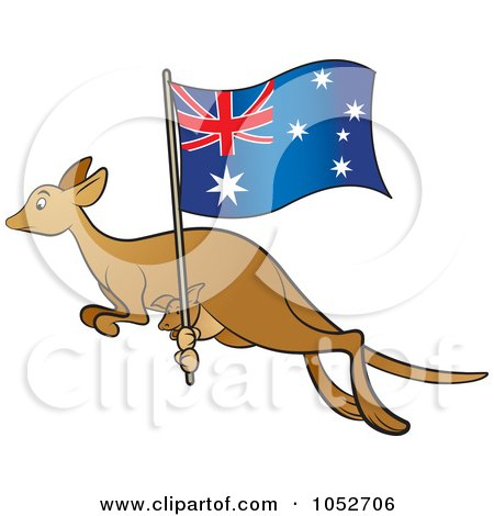 Royalty-Free Vector Clip Art Illustration of a Kangaroo And Joey With An Aussie Flag - 2 by Lal Perera