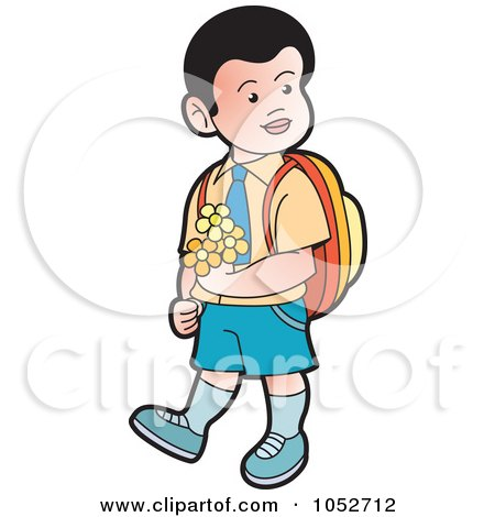 Royalty-Free Vector Clip Art Illustration of a School Boy Carrying Flowers - 2 by Lal Perera