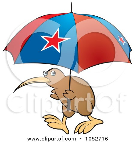 Royalty-free clipart illustration of a kiwi bird with a New Zealand flag